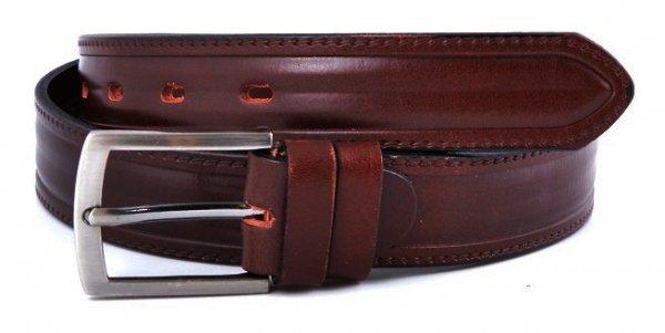 Brązowy skórzany pasek męski do spodni 2,9cm mod.2