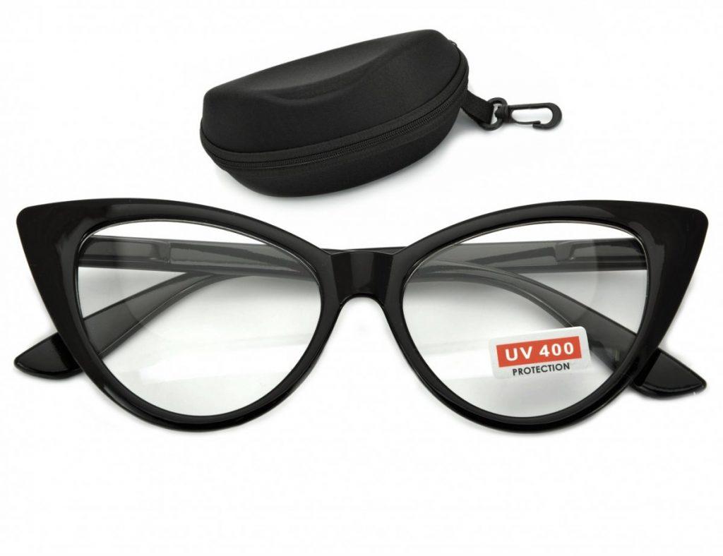 Kocie oczy okulary Zerówki Damskie CAT EYES oprawki ST210 na fleksach