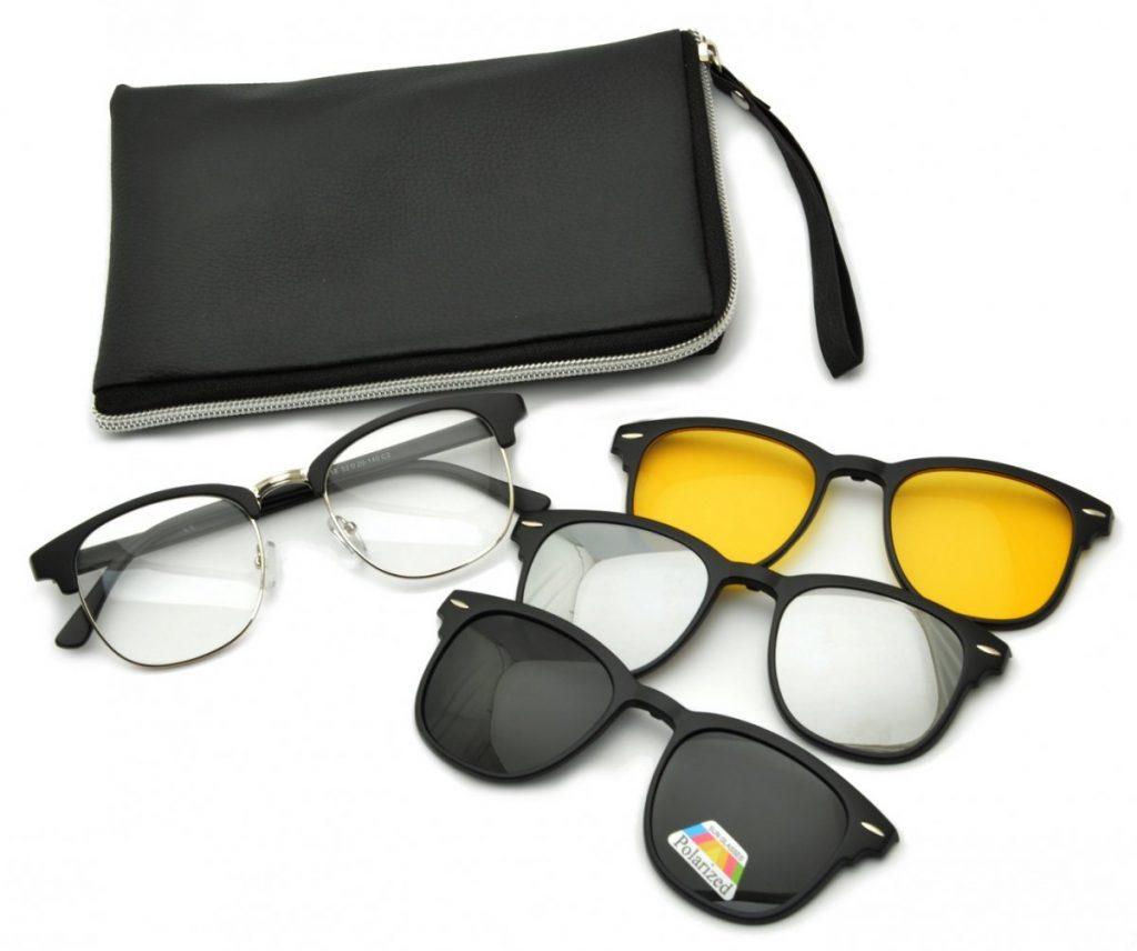 Oprawki okulary zerówki w zestawie z trzema nakładkami na magnes TR2218