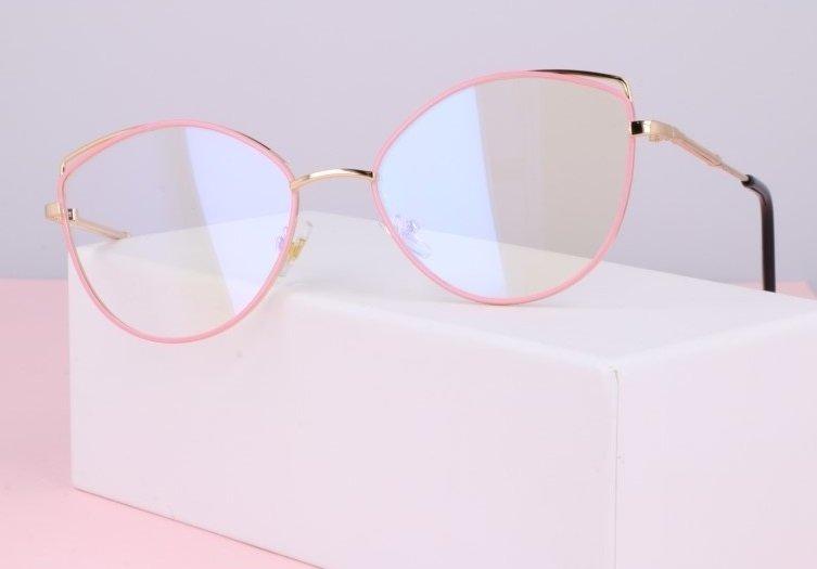Okulary zerówki DAMSKIE kocie oczy z antyrefleksem Pink 2527-4