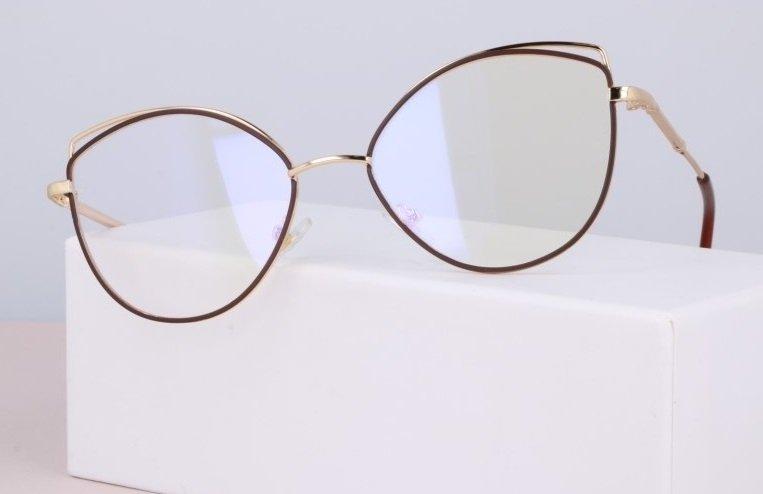 Okulary zerówki DAMSKIE kocie oczy z antyrefleksem Brown 2527-3