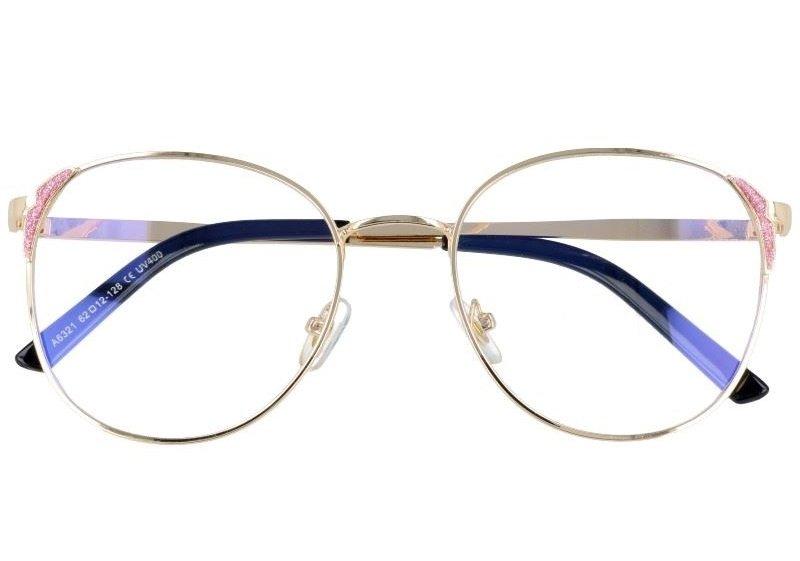 Owalne metalowe Okulary DAMSKIE złote z antyrefleksem 2528-3