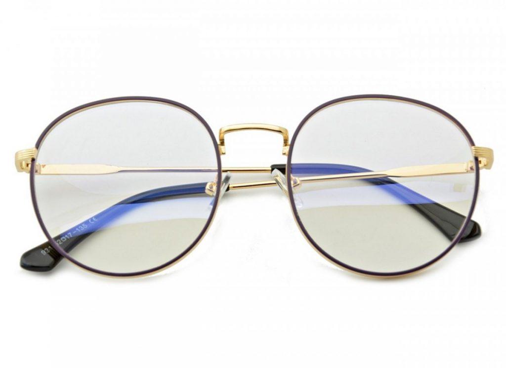 Lenonki okulary zerówki z ANTYREFLEKSEM złoto-fioletowe 2525-3
