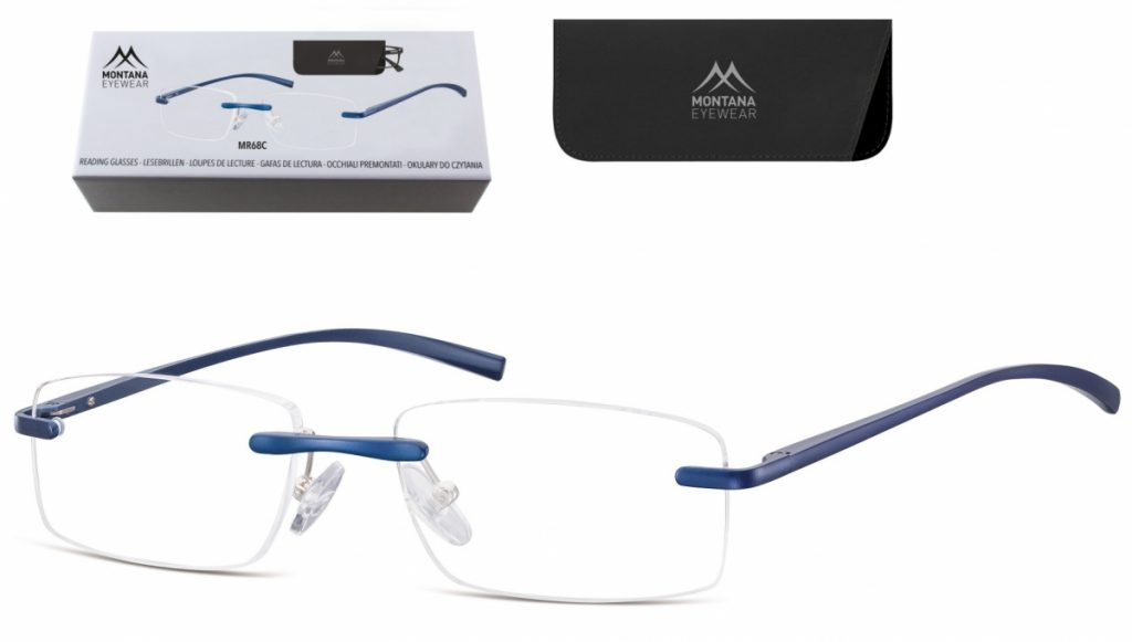 Patentki Bezramkowe Asferyczne Okulary aluminiowe do Czytania Montana MR68C