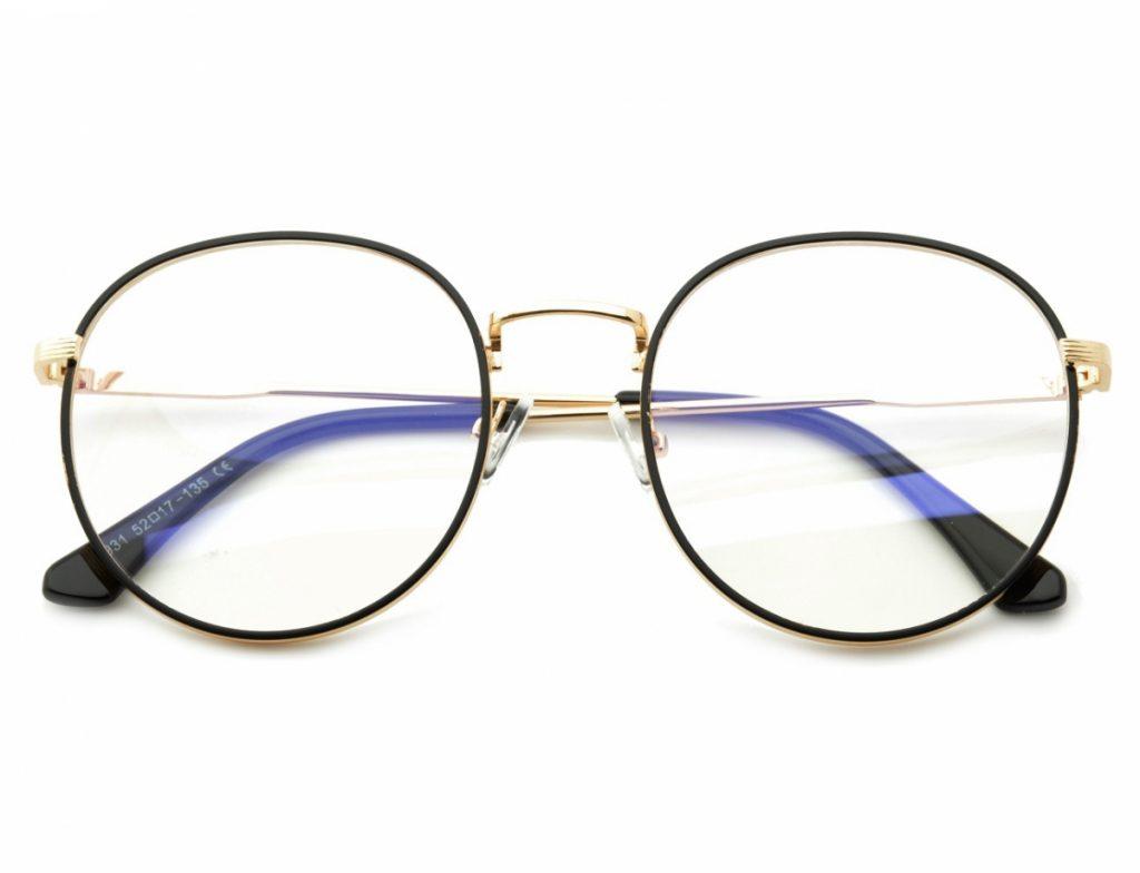Lenonki okulary zerówki z ANTYREFLEKSEM złoto-czarne 2525